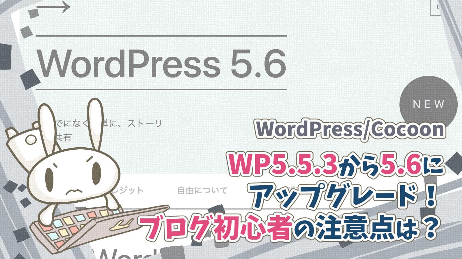 ブログ初心者がワードプレスを最新版5.6にアップグレードcocoon